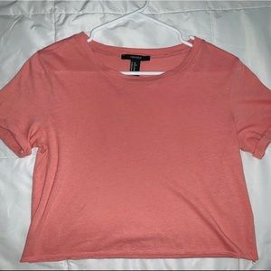 Forever 21 peach cropped shirt